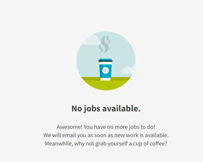 Neevo dashboard - no jobs available