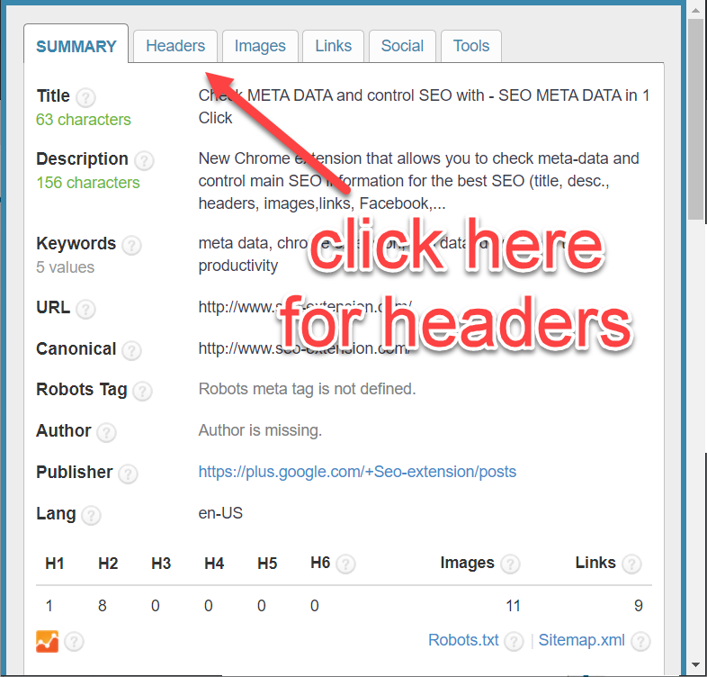 SEO Meta in 1 click chrome extension