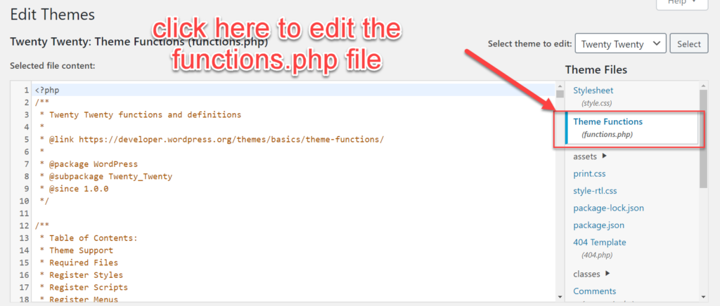 functions.php file editor for wordpress