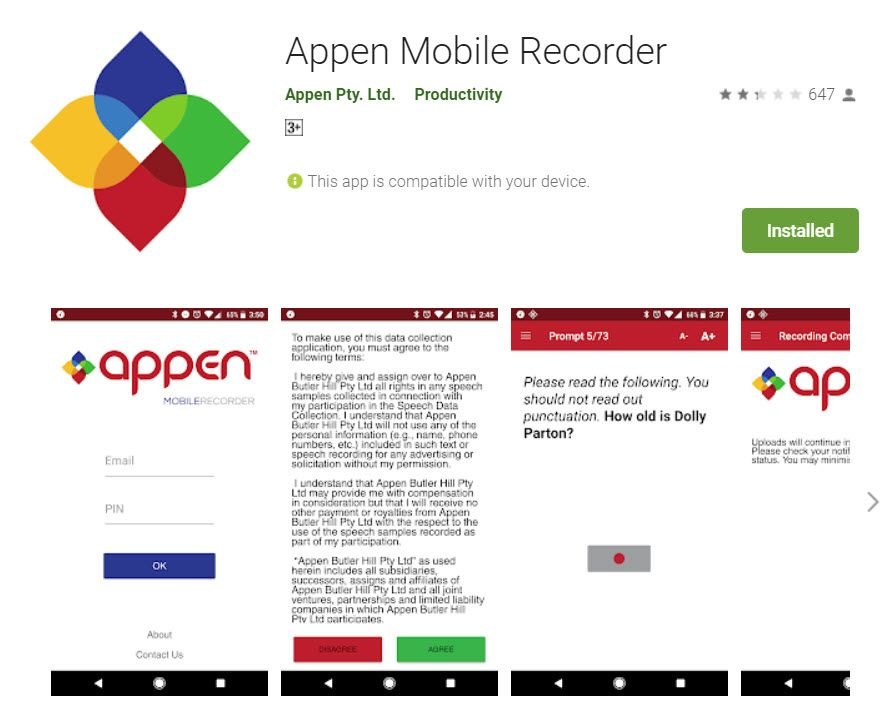 Appen Mobile Recorder app on the play store.