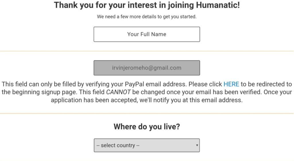 humanatic signup process