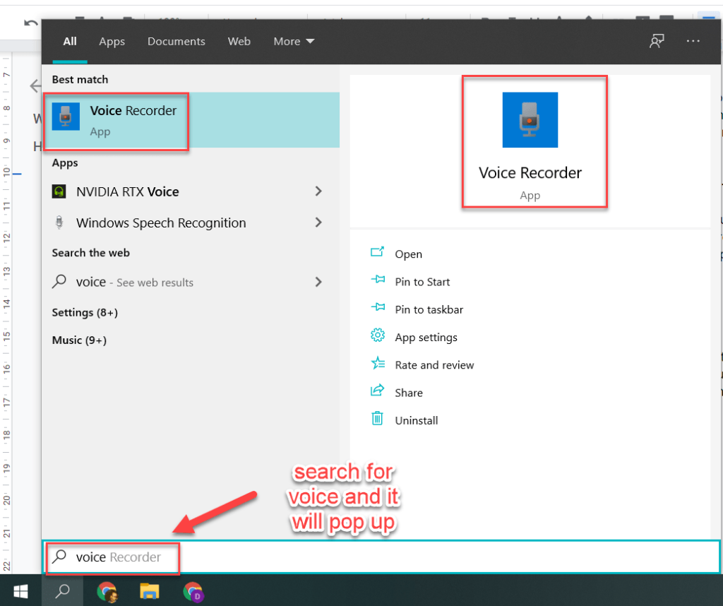 Open Voice Recorder app on your PC