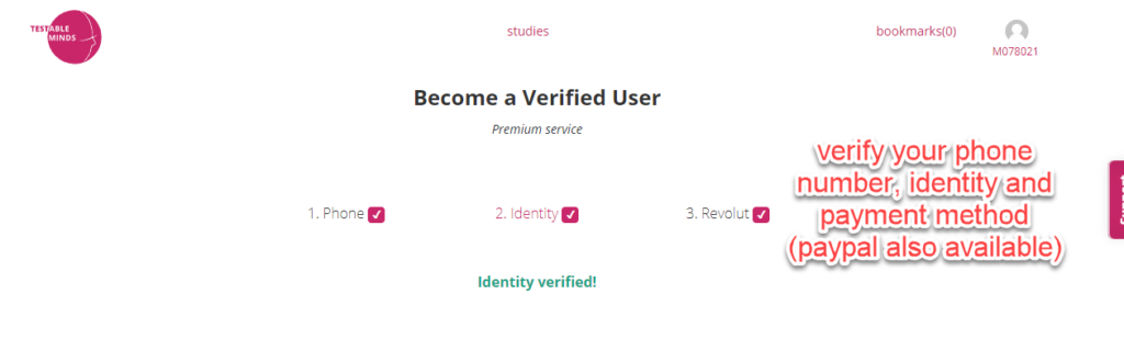 Verify your identity for more opportunities