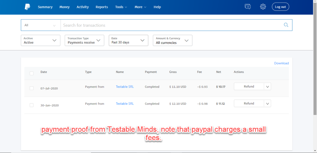 Payment proof for minds.testable.org