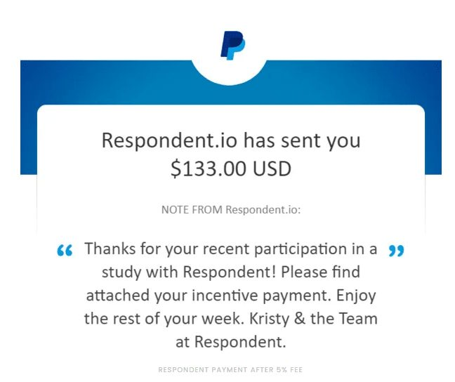 Respondent payment proof