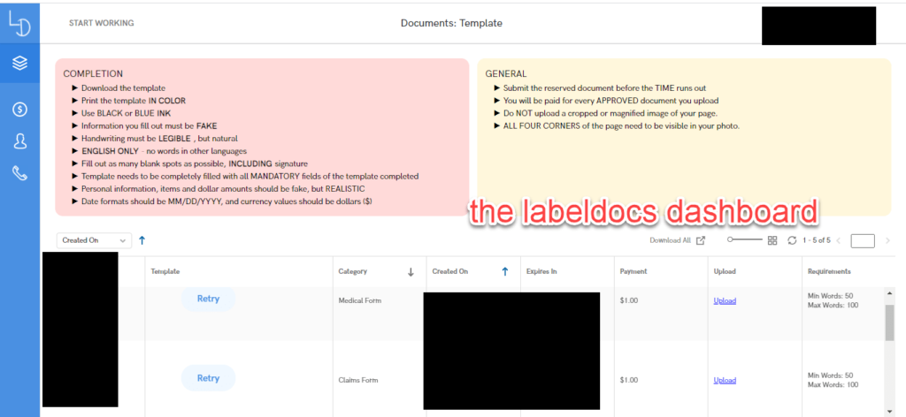 The Labeldocs Dashboard
