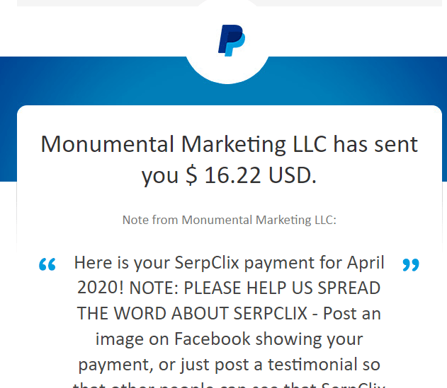 payment proof from serpclix (monumental marketing llc)