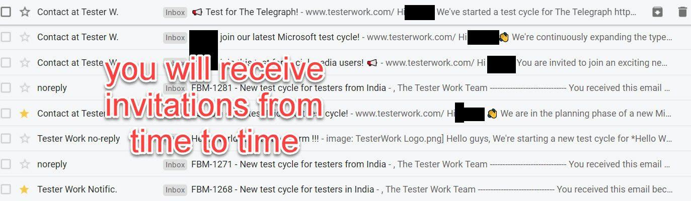 testerwork email invitations