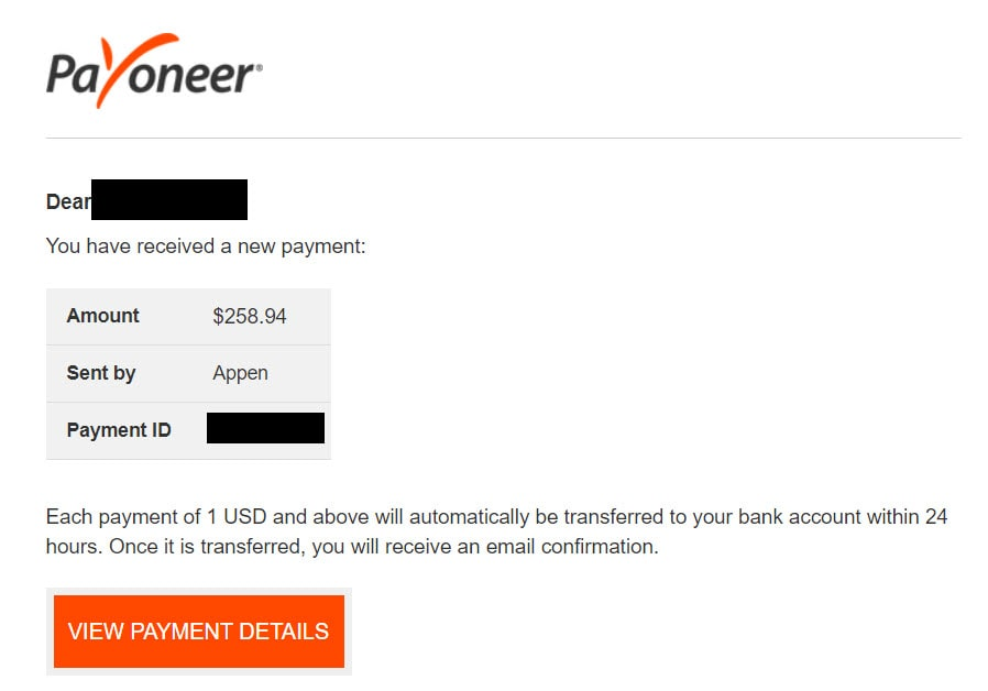 appen payment proof for mystery shopping