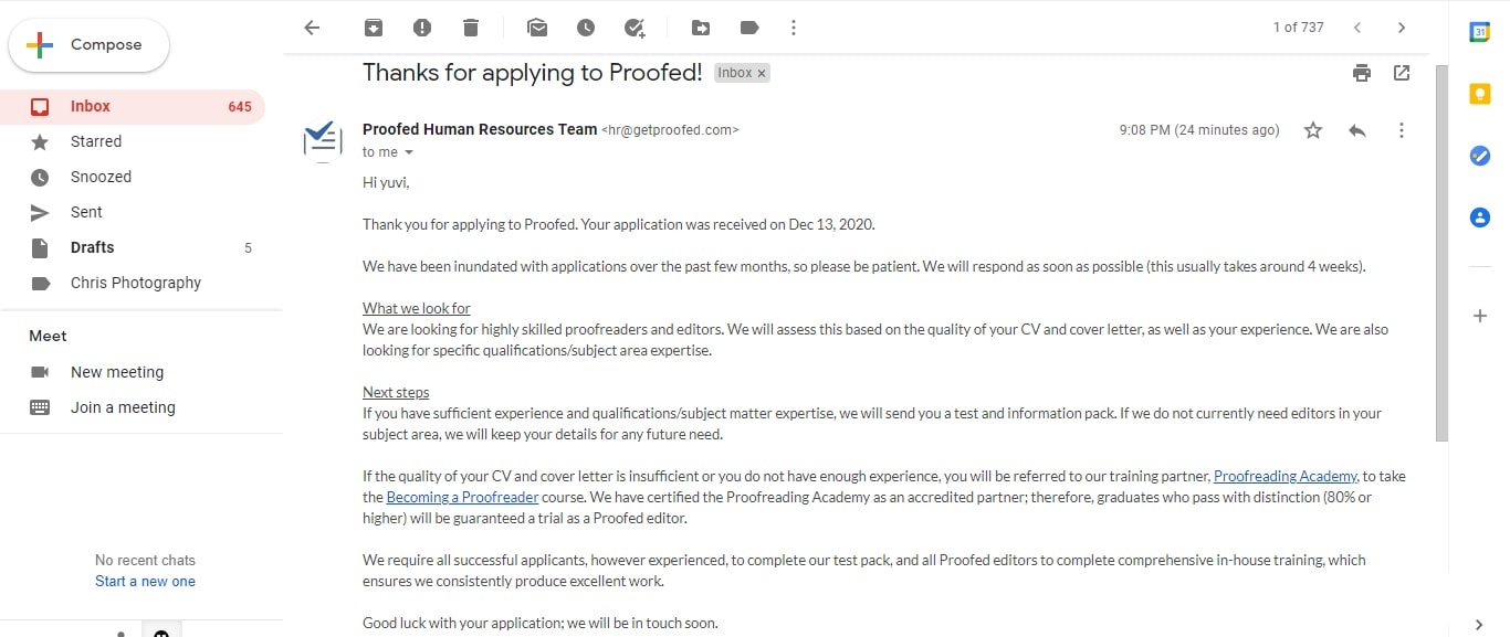 email from proofed