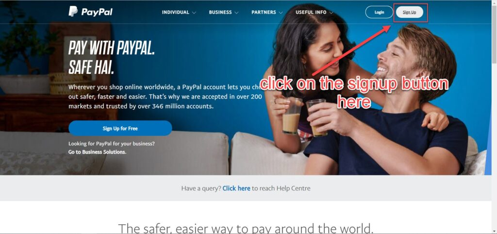 signup for paypal india