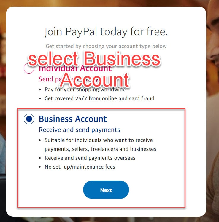 Business account paypal