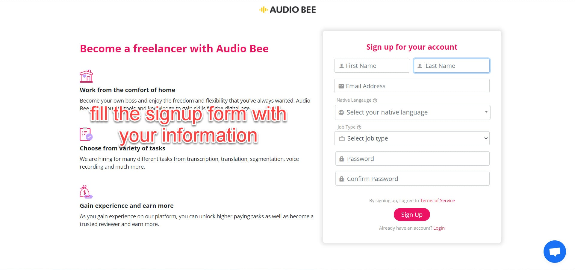 audiobee signup page