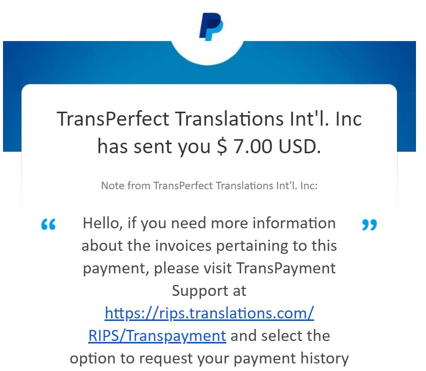 transperfect dataforce paypal payment proof