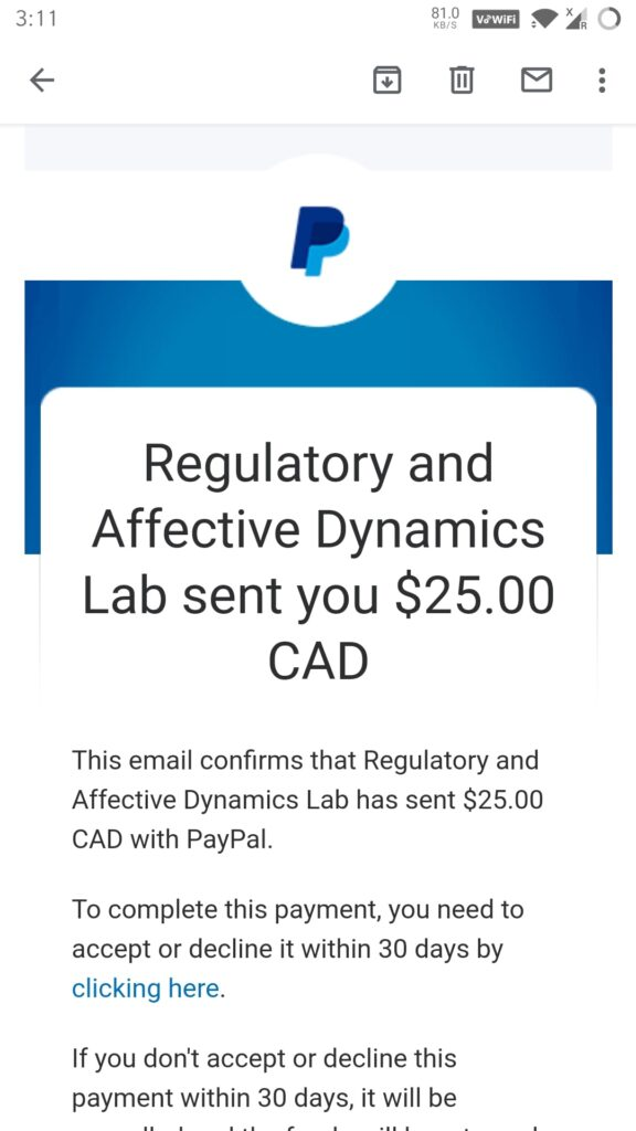 RAD Labs study payment proof for march 2021