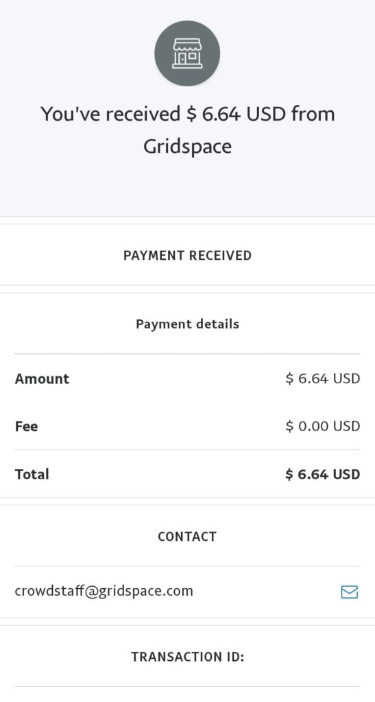 mixer gridspace payment proof paypal