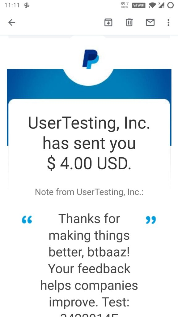 usertesting new 4$ test payment proof