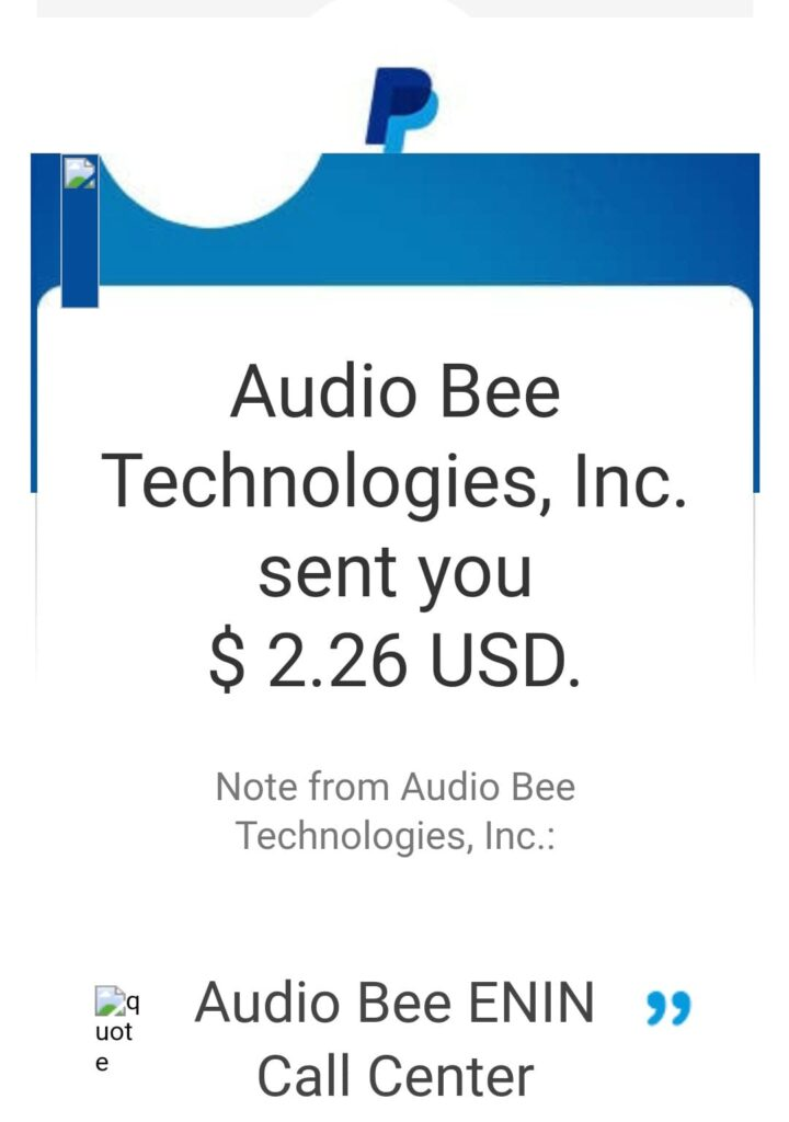 audiobee payment proof paypal