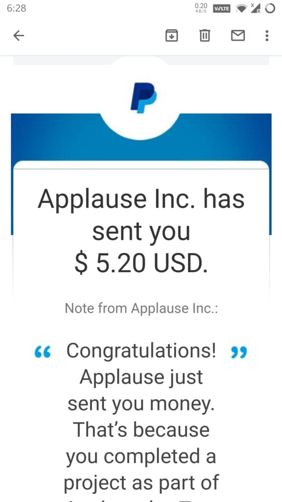 uTest applause payment proof