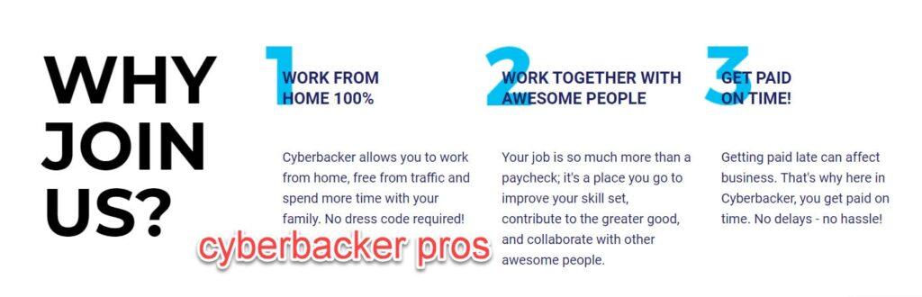 Advantages of working at Cyberbacker: online work from home jobs