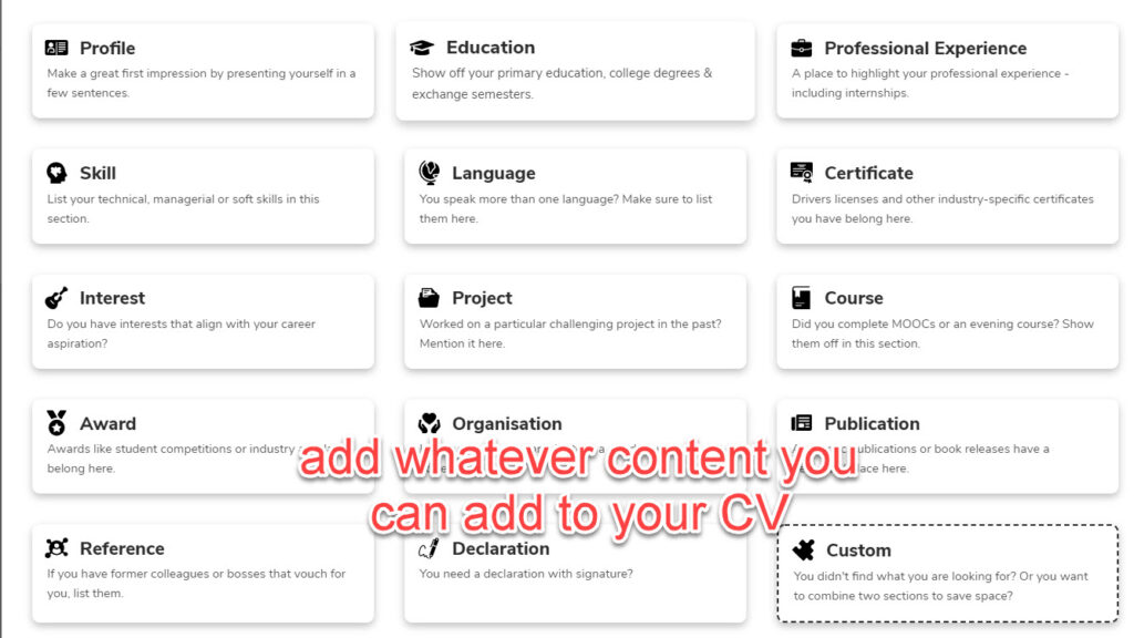 different sections you can add to your resume