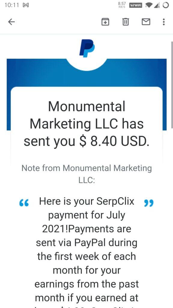 serpclix payment proof july 2021 monumental marketing llc