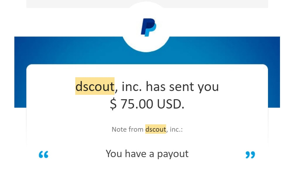 dscout payment proof paypal july