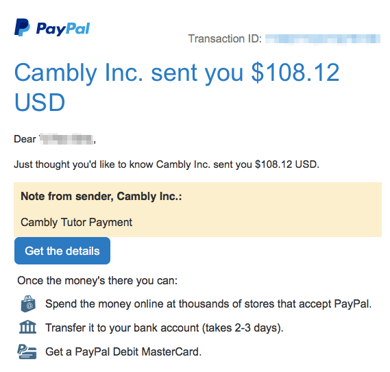 cambly payment proof
