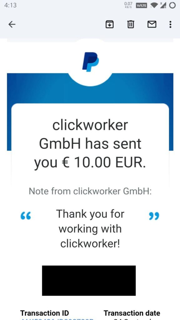 clickworker uhrs voice recording payment proof