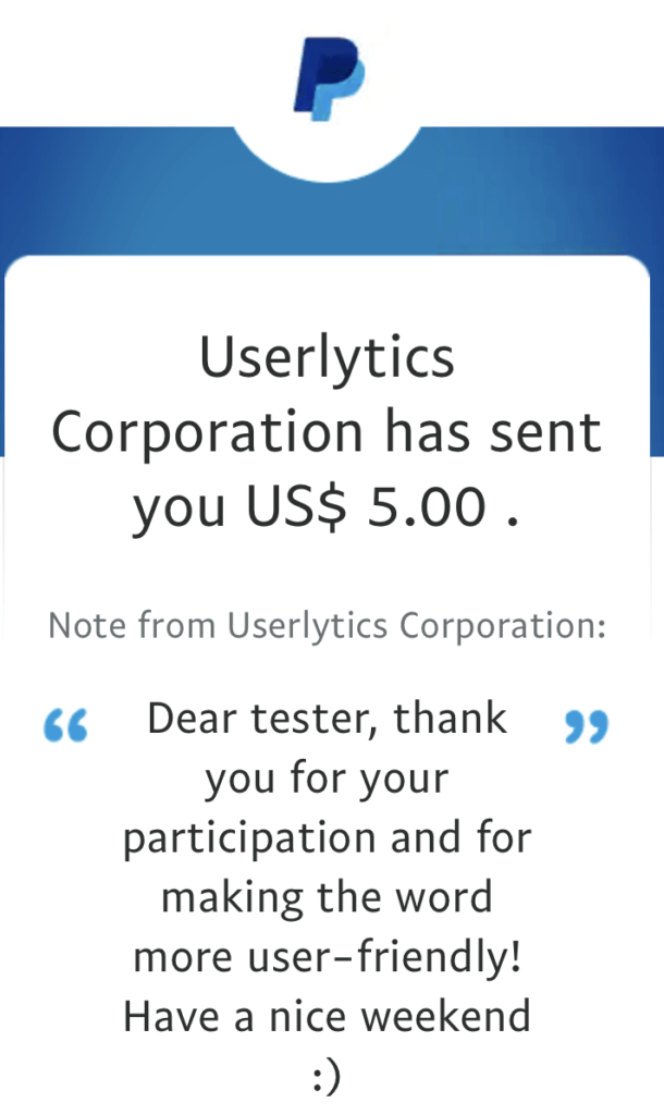userlytics payment proof. get paid to test websites.